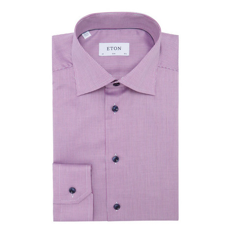 Micro-Pattern Slim Fit Shirt, ${color}