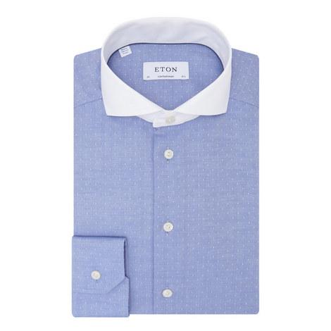 Contrast Collar Herringbone Shirt, ${color}