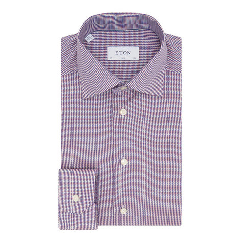 Micro-Pattern Textured Slim Shirt, ${color}