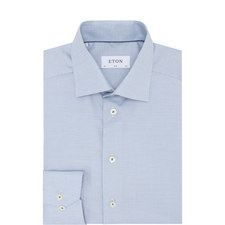 Micro-Pattern Textured Slim Shirt