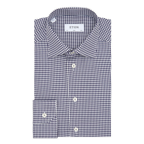 Dogstooth Pattern Slim Fit Shirt , ${color}