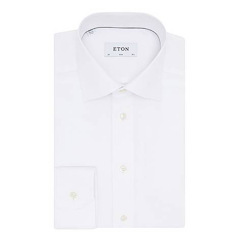 Textured Slim Cotton Shirt, ${color}
