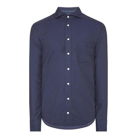 Cotton-Silk Herringbone Shirt, ${color}