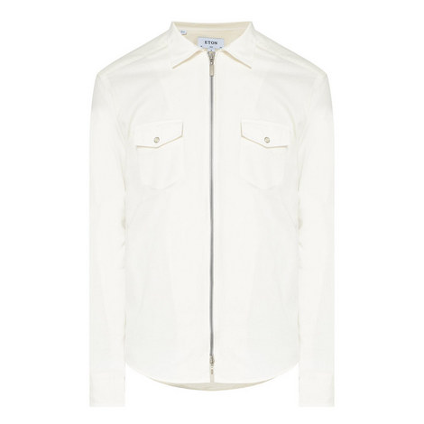 Denim Zip-Through Shirt, ${color}