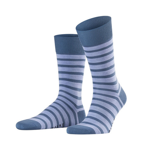 Blue On Blue Even Stripe Sock, ${color}