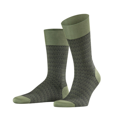 Green Navy Temple Socks, ${color}