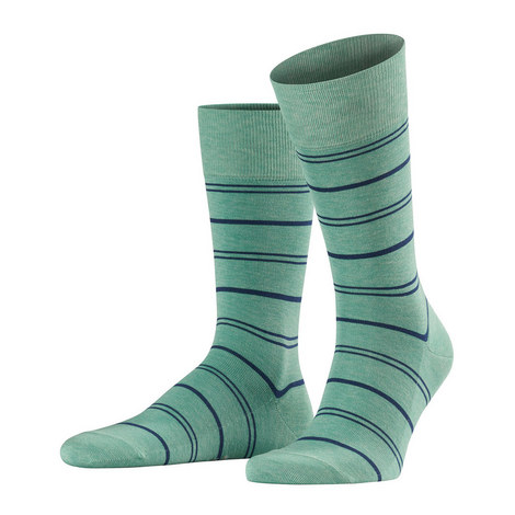 Green Navy Stripe Wash Sock, ${color}