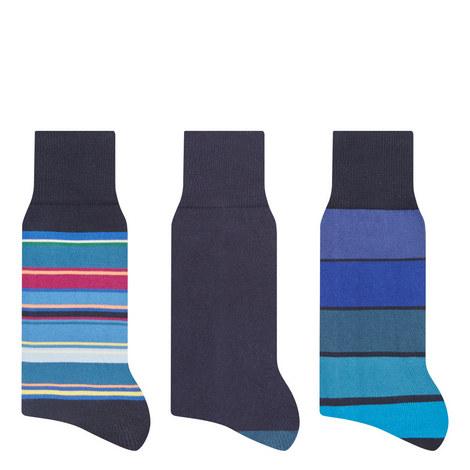 3 Pack Multistripe Socks, ${color}