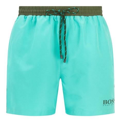 Contrast Waistband Swim Shorts, ${color}