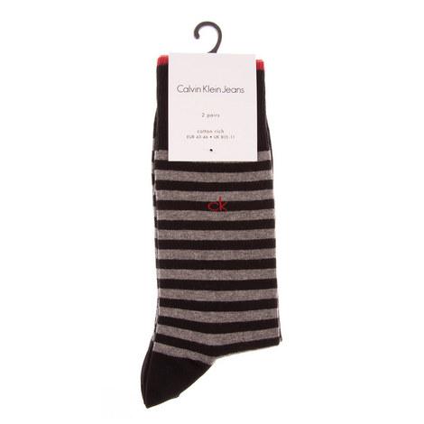 Broken Stripe Socks 2 Pack, ${color}