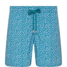 Moorea Micro-Turtle Print Shorts