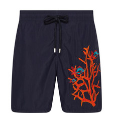 Motu Coral And FIsh Swim Shorts
