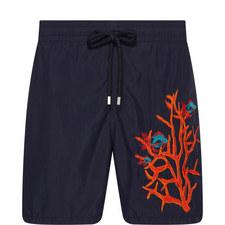Motu Coral And FIsh Swim Shorts