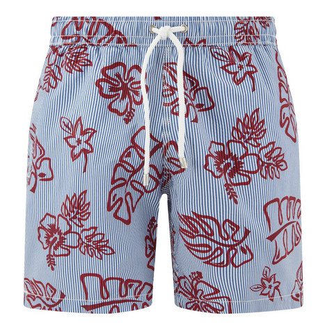 Tropical Print Striped Swim Shorts, ${color}