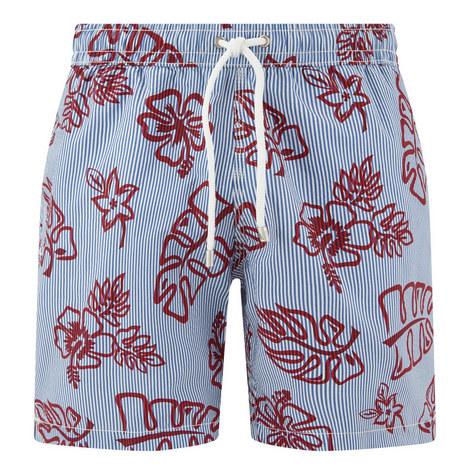 Tropical Print Striped Swim Shorts, ${color}