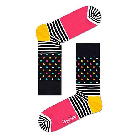 Stripe & Dot Pattern Socks, ${color}