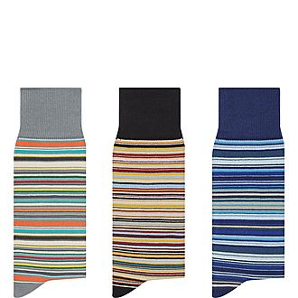 Three-Pack Signature Stripe Socks