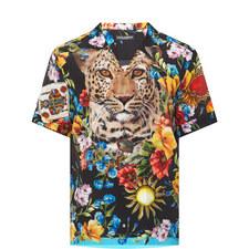 Floral Leopard Silk Bowling Shirt