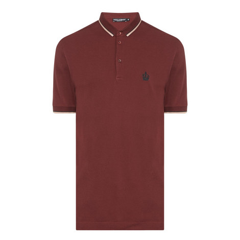 Embroidered Crown Tipped Polo Shirt, ${color}