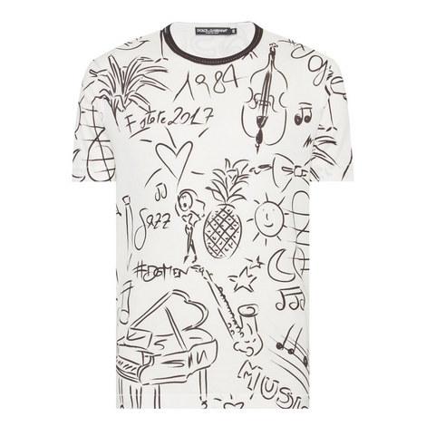 Sketch Patterned T-Shirt, ${color}