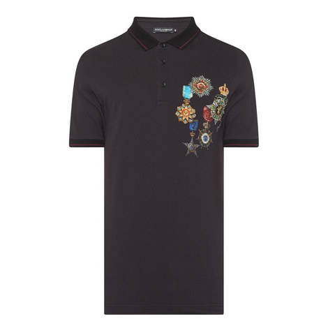 Medal Print Polo Shirt, ${color}