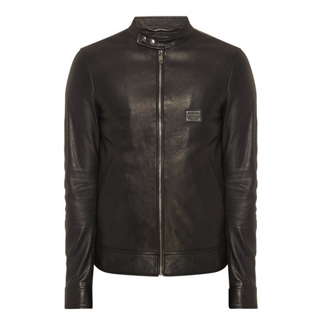 Logo Plaque Leather Biker Jacket, ${color}