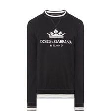Crown Logo Stripe Detail Sweatshirt