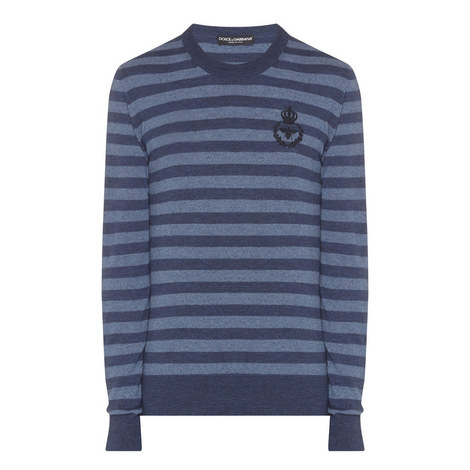 Stripe Crew Neck Knitted Sweater, ${color}