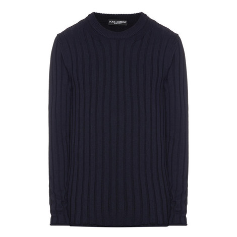 Ribbed Crew Neck Wool Sweater, ${color}