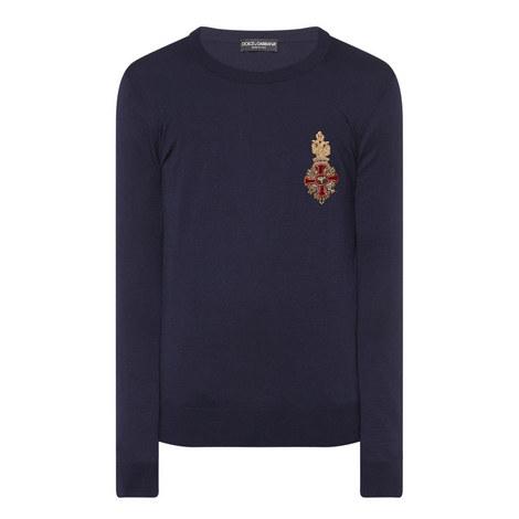 Crest Detail Cashmere Sweater, ${color}