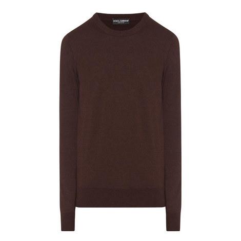 Crew Neck Plaque Sweater, ${color}