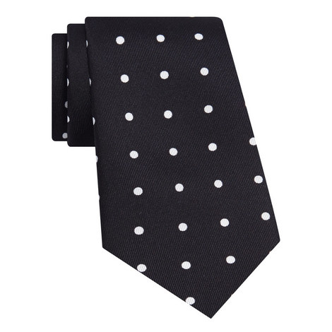 Dot Print Silk Tie, ${color}