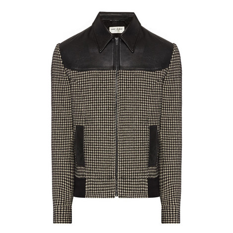 Houndstooth Leather Bomber Jacket, ${color}