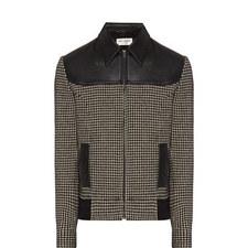 Houndstooth Leather Bomber Jacket