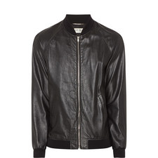 Distressed Leather Bomber Jacket