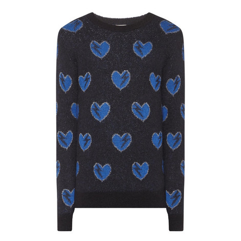 Heart Mohair Knitted Sweater, ${color}