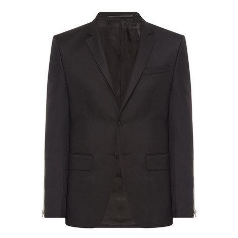 Zip Sleeve Wool Mix Jacket, ${color}