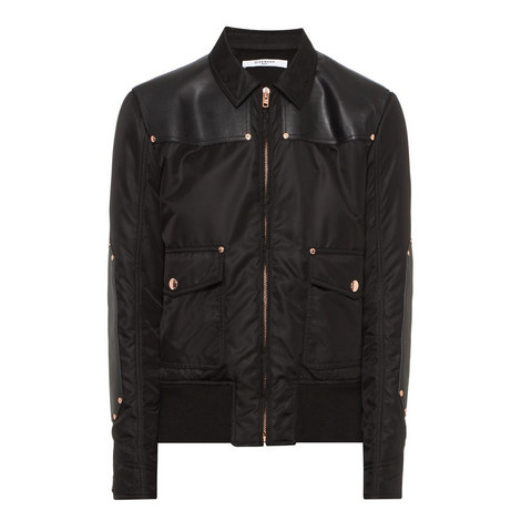 Leather-Trimmed Bomber Jacket, ${color}