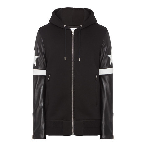 Leather Sleeve Hooded Jacket, ${color}