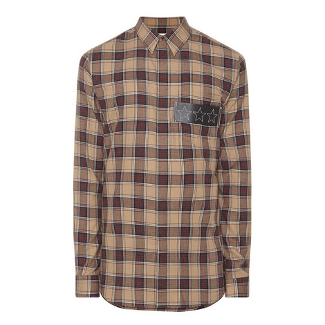 Leather Star Patch Check Shirt, ${color}