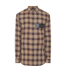 Leather Star Patch Check Shirt