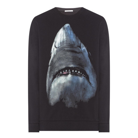 Shark Print Sweatshirt, ${color}