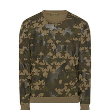 Star Camouflage Print Sweater