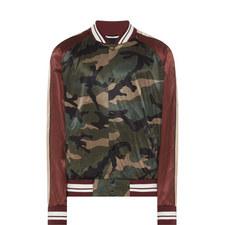 Camouflage Satin Bomber Jacket
