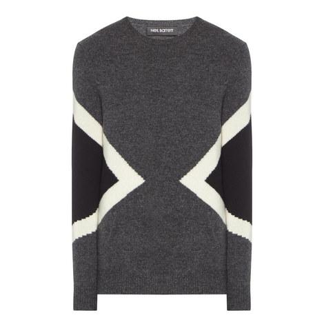 Panel Crew Neck Sweater, ${color}