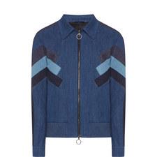 Stripe Patch Denim Bomber Jacket