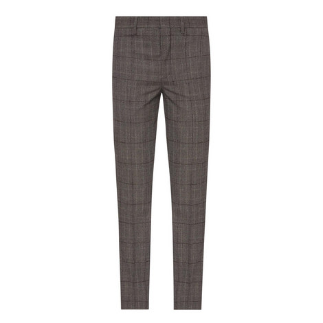 Check Print Cuffed Wool Trousers, ${color}