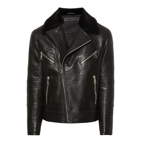 Shearling-Trimmed Leather Jacket, ${color}