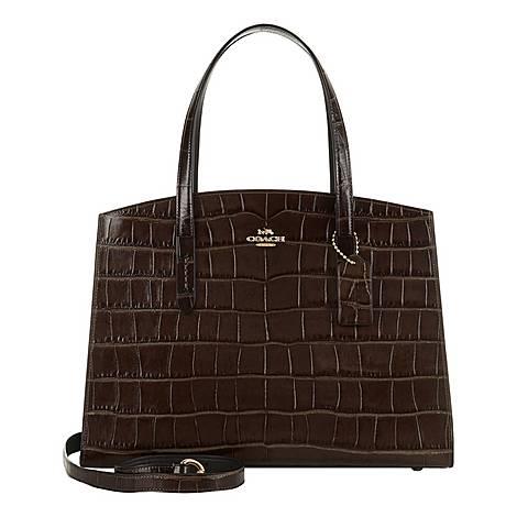 Charlie Crocodile Embossed Shoulder Bag, ${color}