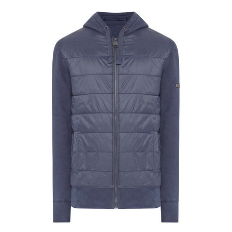 Baffle Quilted-Front Hoodie, ${color}